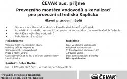 Volná pracovní pozice - Čevak a.s.